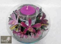 Mécsestartó Orchideával