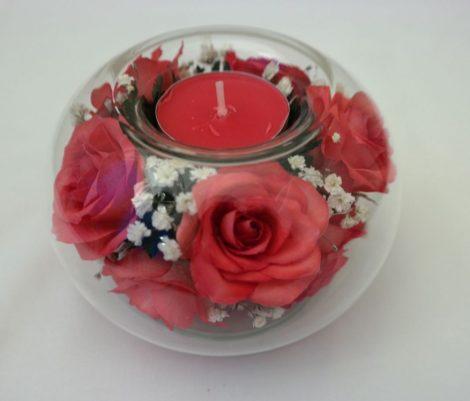 Mécsestartó Piros Rózsa